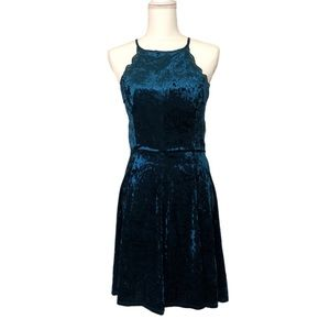 NWT Teal Blue Crushed Velvet Dress Fit and Flare